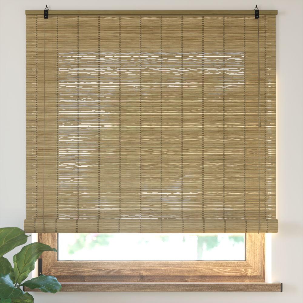 Estor Enrollable de Bambú, Producto Terminado, Marrón