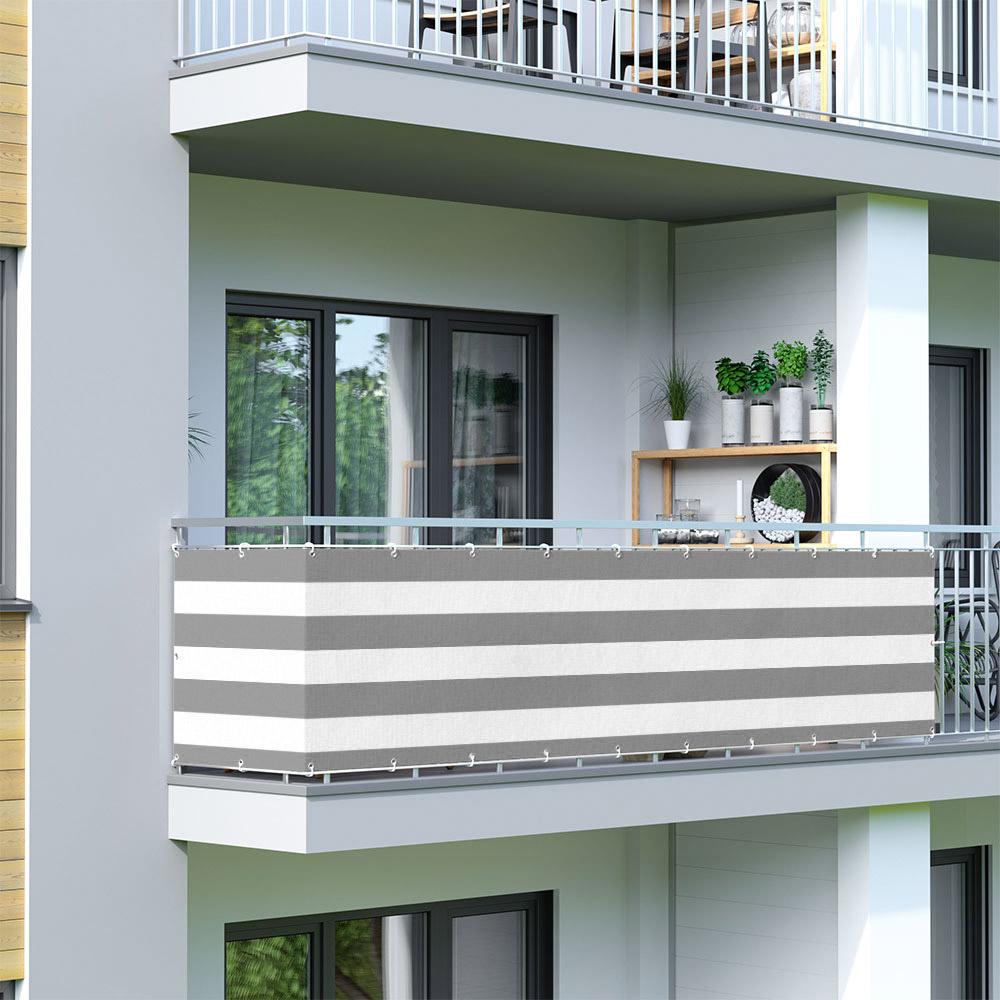 Malla de Ocultación para Balcón, Basic, Tejido Transpirable, Gris-blanco