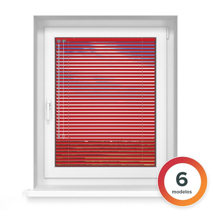Veneciana de Aluminio 25mm, A Medida, STANDARD, Rojo