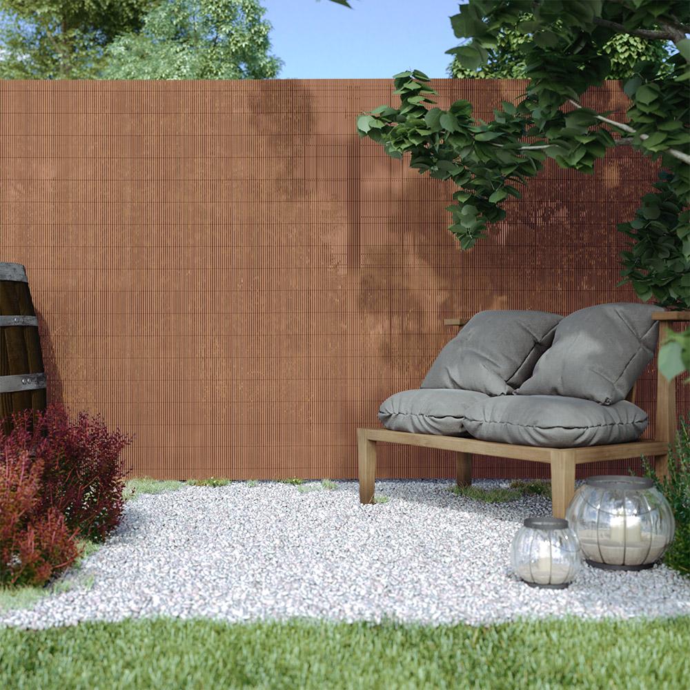Cañizo de PVC para Jardín, Ecológico, en Marrón, Marrón, 90x300 cm