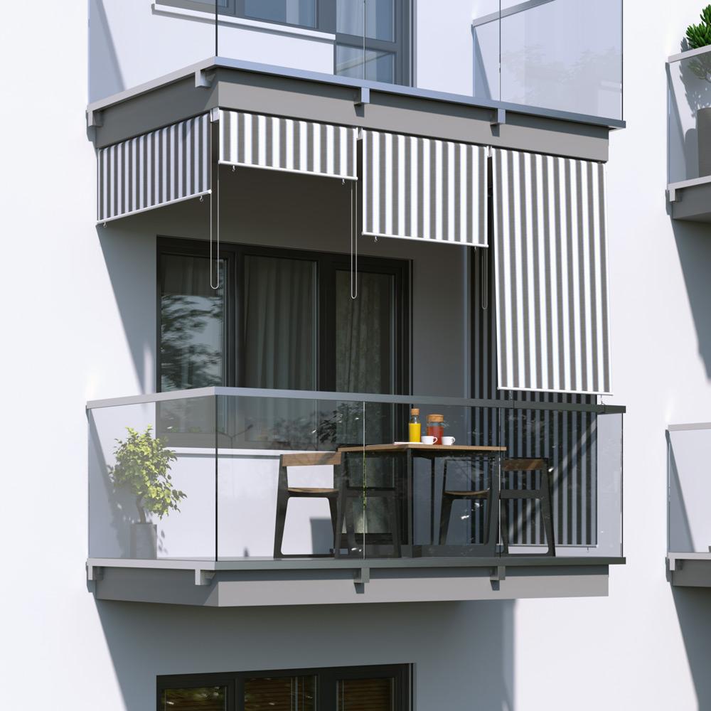 Toldo Vertical para Balcón, Producto Terminado, Blanco y gris