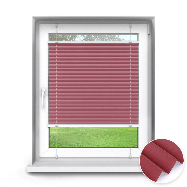 Cortina Plisada, para Recortar, A Medida, Standard, Sumire Rojo Rosado