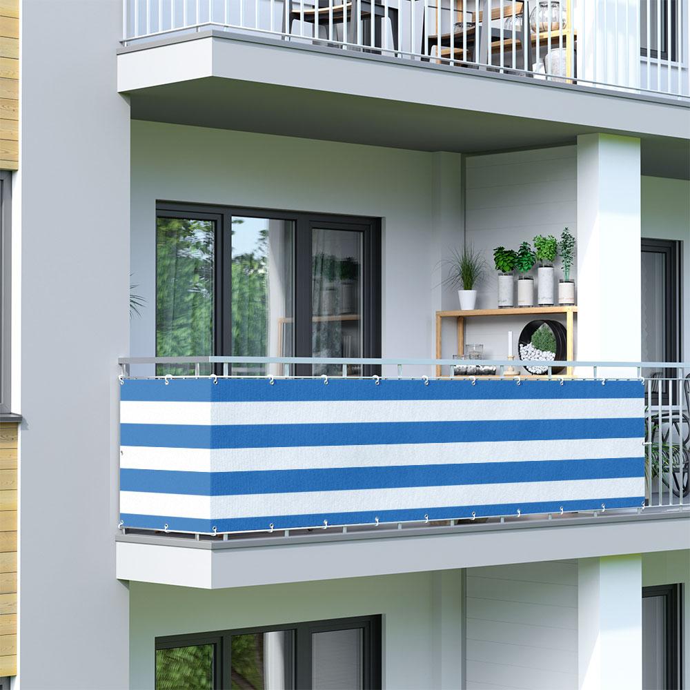 Malla de Ocultación para Balcón, Basic, Tejido Transpirable, Blanco-azul