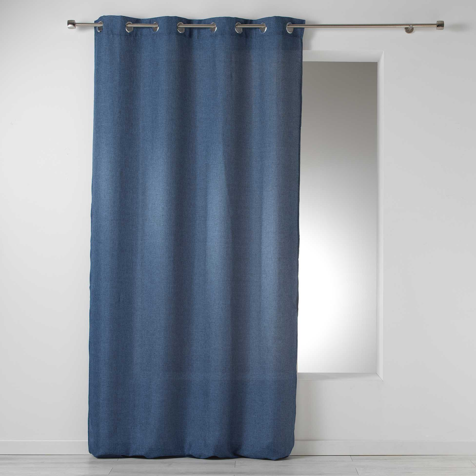 Cortina Loneta con Ojales, Tejido Translúcido Frida, Azul marino