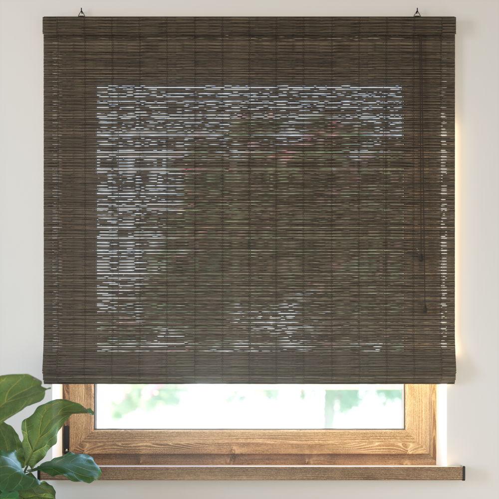 Estor Plegable de Bambú, Producto Terminado, Marrón oscuro