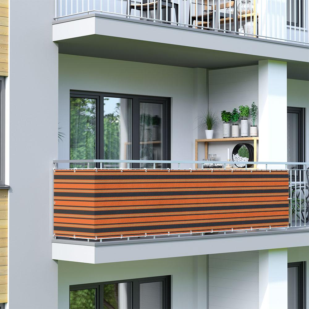 Malla de Ocultación para Balcón, Basic, Tejido Transpirable, Naranja-marrón-negro