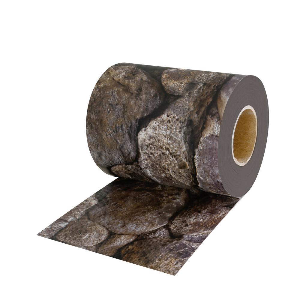 Rollo de Ocultación de PVC con Clips de Sujeción, Patrón de piedras