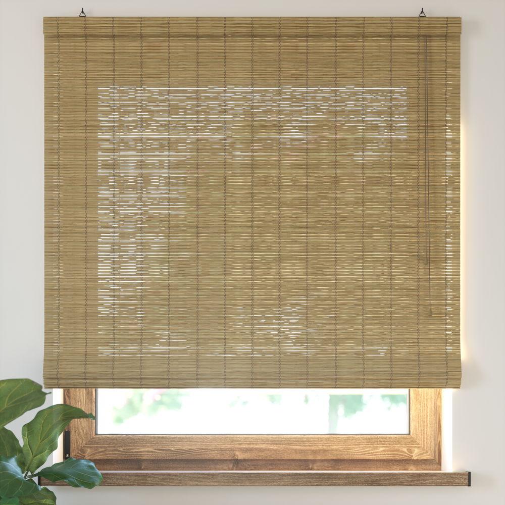Estor Plegable de Bambú, Producto Terminado, Marrón