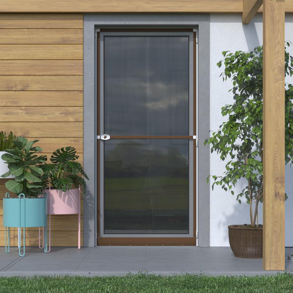 Mosquitera Abatible, para Puertas, 120x220cm, Producto Terminado, Marrón