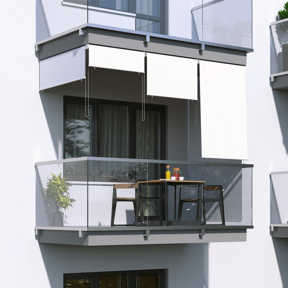 Toldo Vertical para Balcón, Producto Terminado, Blanco