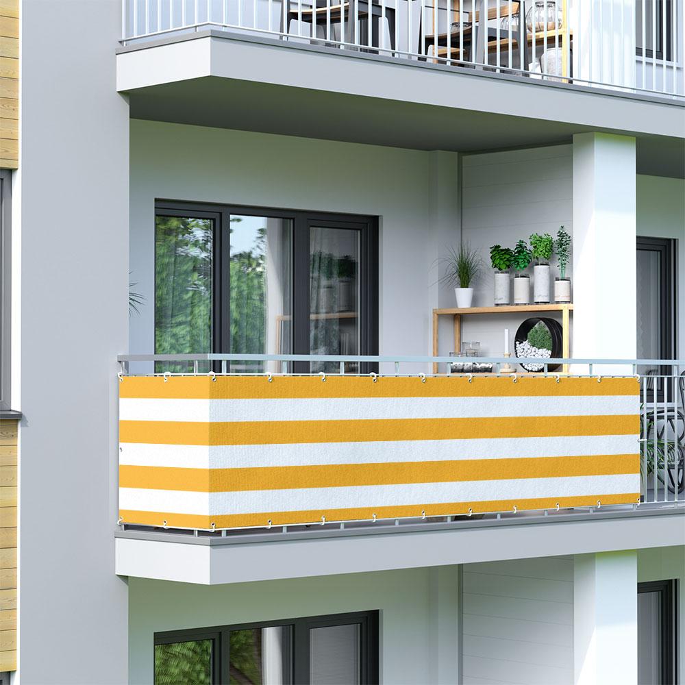 Malla de Ocultación para Balcón, Basic, Tejido Transpirable, Amarillo-blanco
