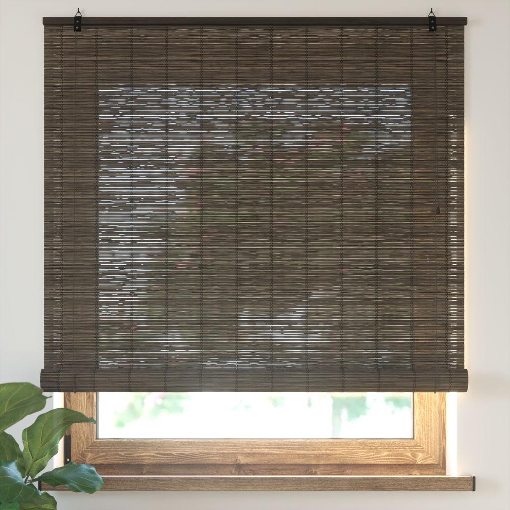 Estor Enrollable de Bambú, Producto Terminado, Marrón oscuro