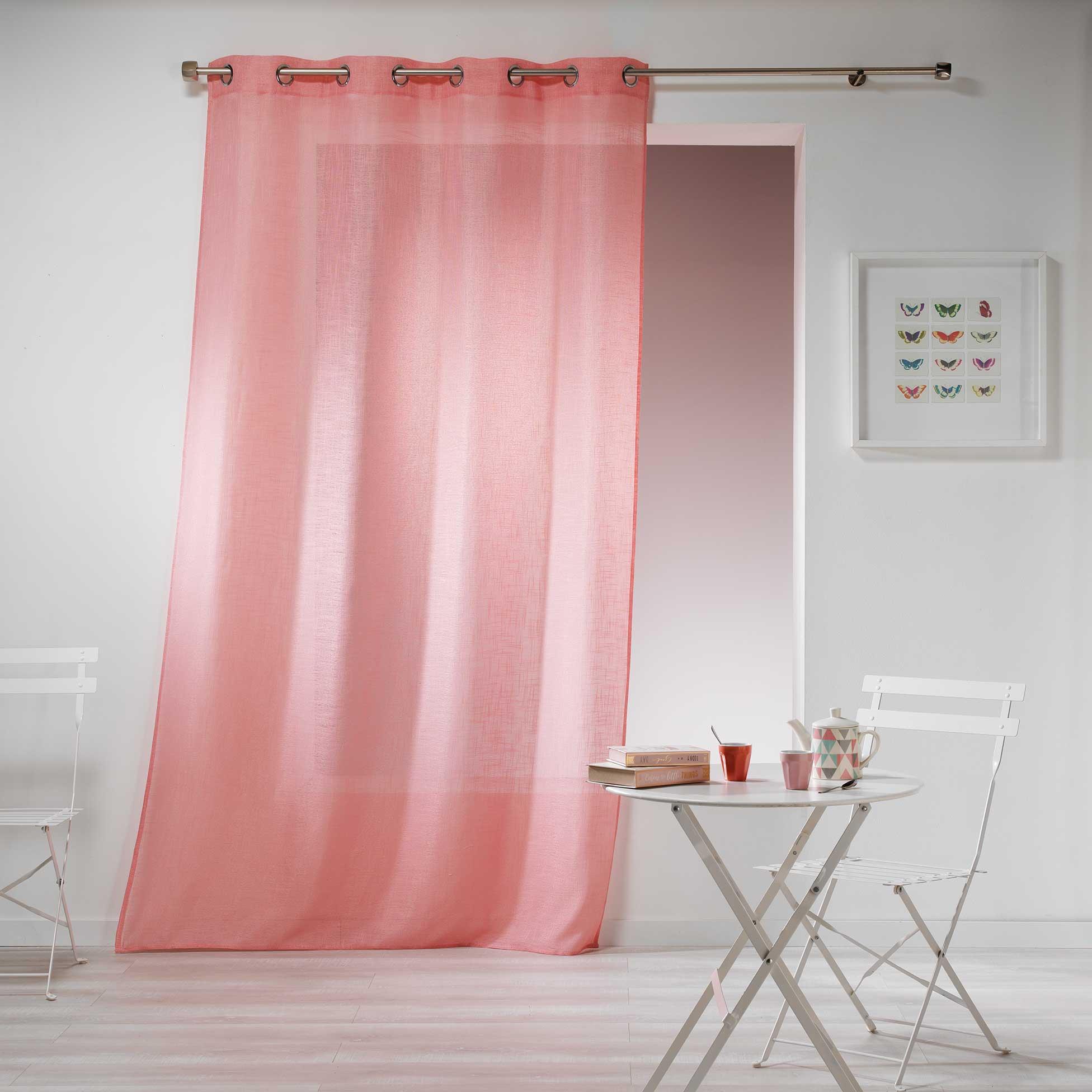 Cortina Loneta/Visillo con Ojales, Efecto Visual de Lienzo Gaya, Maquillaje rosa