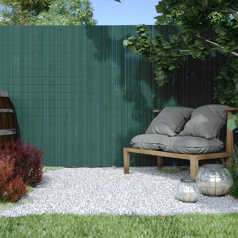 Cañizo de PVC para Jardín, Listón 17mm de Ancho, PREMIUM, Verde