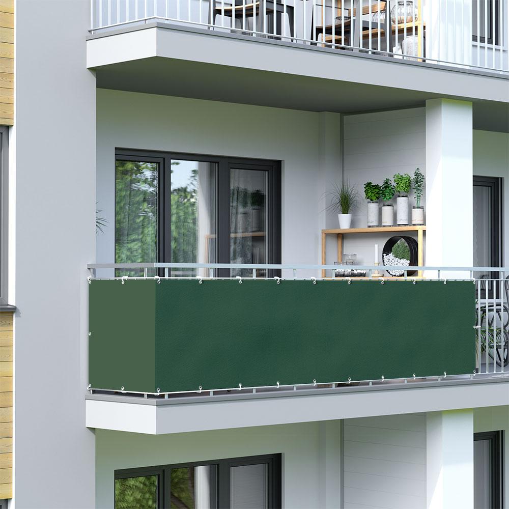 Malla de Ocultación para Balcón, BASIC, Tejido Impermeable, Verde oscuro