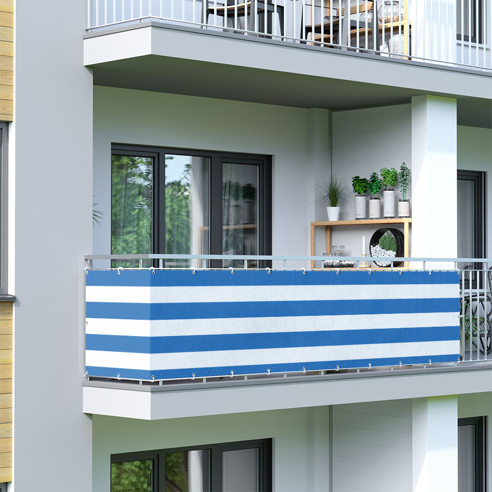 Malla de Ocultación para Balcón, Basic, Tejido Transpirable, Azul-blanco