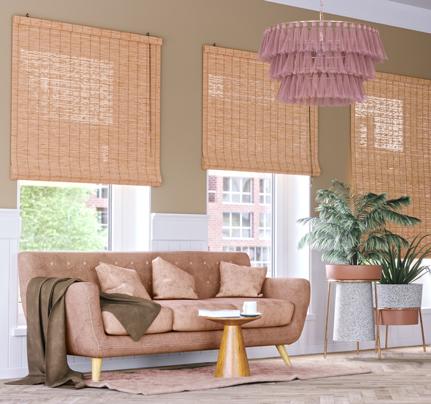 estores de bambú para salón