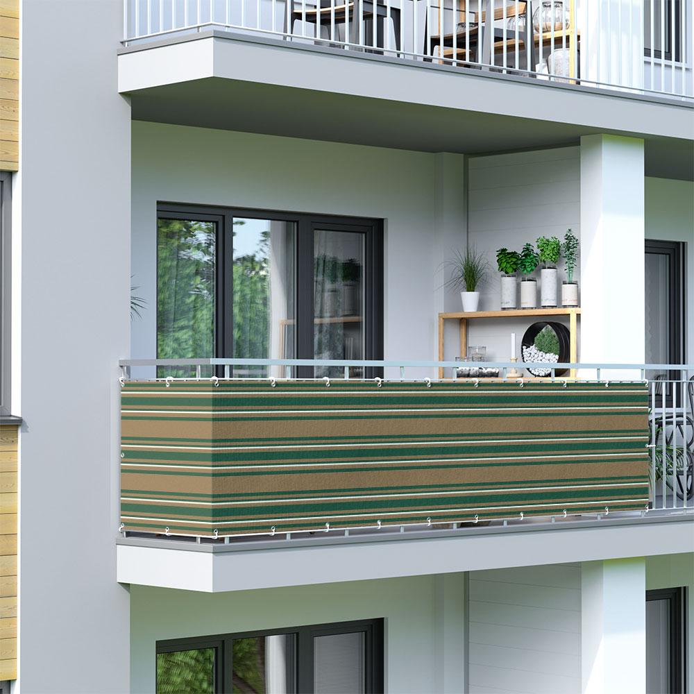 Malla de Ocultación para Balcón, Basic, Tejido Transpirable, Verde-blanco-marrón
