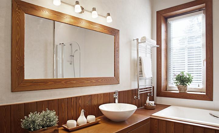 Veneciana de imitación madera para el cuarto de baño