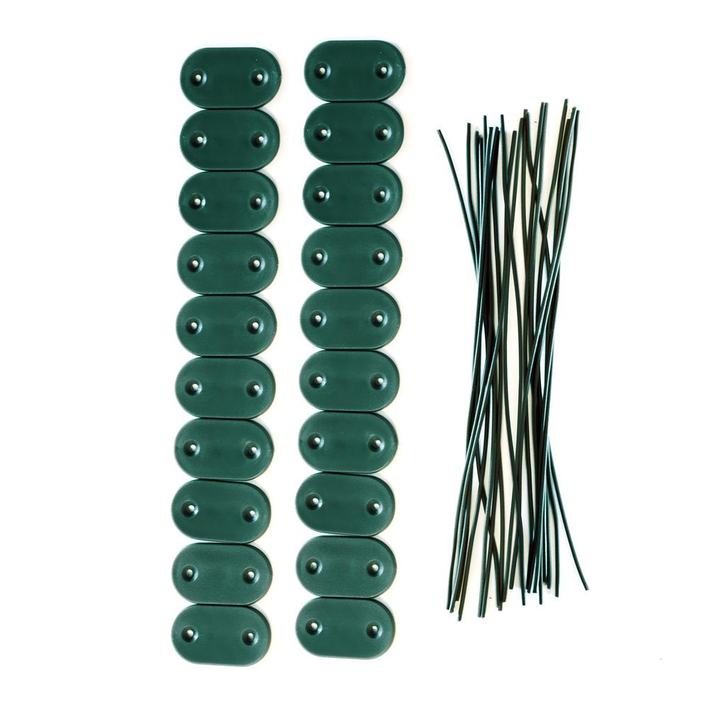 Kit de fijación para cañizos de PVC para jardín, Verde