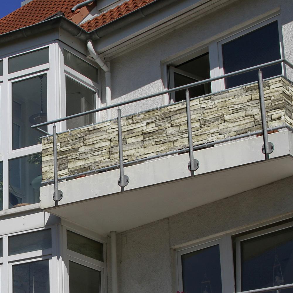 Malla de Ocultación para Balcón, BASIC, Tejido Impermeable, Patrón de piedras