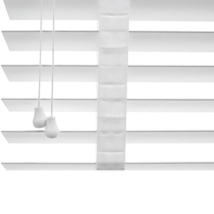 Veneciana de Imitación Madera de 50mm con Cinta Escalera en Blanco, Producto Terminado